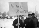 Gruvarbetare demonstrerar i Malmberget 1969